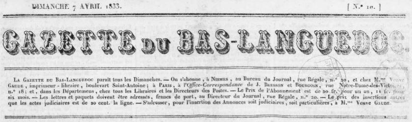 Photo (Occitanie) de : Gazette du Bas-Languedoc. Nîmes, 1833-[1852 ?]. ISSN 2128-7287.