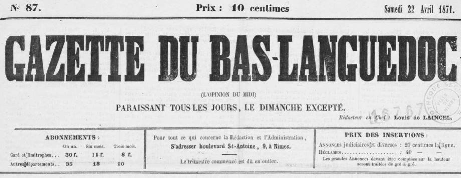 Photo (Occitanie) de : Gazette du Bas-Languedoc. Nîmes, 1871. ISSN 2128-7295.