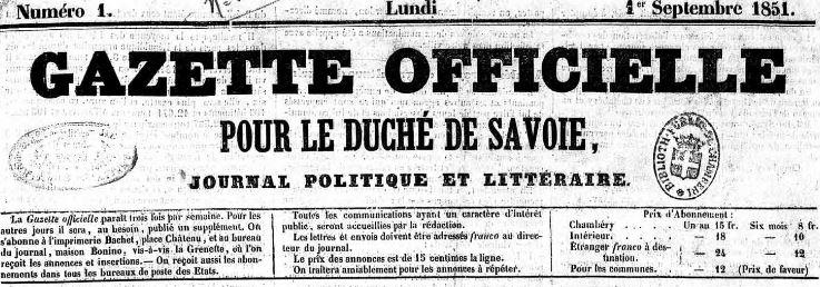 Photo (Auvergne-Rhône-Alpes livre et lecture) de : Gazette officielle pour le duché de Savoie. Chambéry, 1851-1852. ISSN 2128-7988.