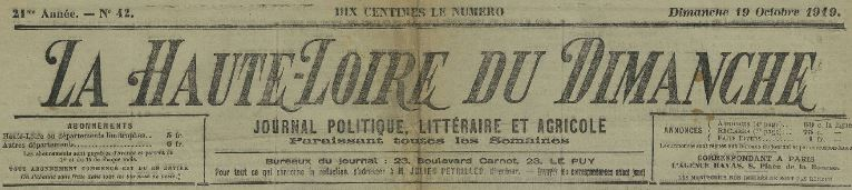 Photo (Haute-Loire. Archives départementales) de : La Haute-Loire du dimanche. Le Puy, 1899-1944. ISSN 2129-1268.
