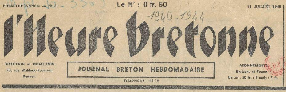 Photo (BnF / Gallica) de : L'Heure bretonne. Rennes, 1940-1944. ISSN 2025-7015.