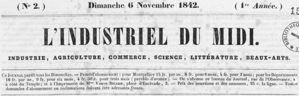 Photo (Occitanie) de : L'Industriel du Midi. Montpellier, 1842-1843. ISSN 2129-8335.