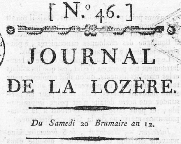 Photo (Occitanie) de : Journal de la Lozère. Mende, 1803-1863. ISSN 2130-4505.