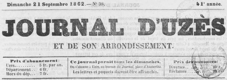 Photo (Occitanie) de : Journal d'Uzès et de son arrondissement. Uzès, 1842-1944. ISSN 2130-2480.