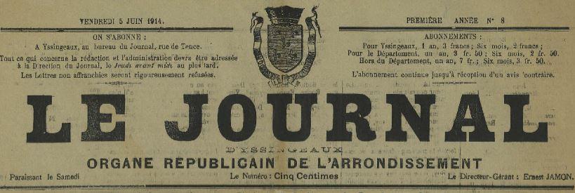 Photo (Haute-Loire. Archives départementales) de : Le Journal d'Yssingeaux. Yssingeaux, 1914. ISSN 2130-2499.
