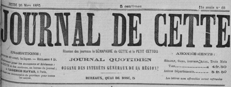 Photo (Occitanie) de : Journal de Cette. Cette, 1885-1919. ISSN 2130-3126.