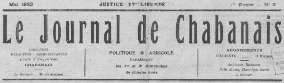 Photo (BnF / Gallica) de : Le Journal de Chabanais. Chabanais, 1923-1931. ISSN 2100-6768.