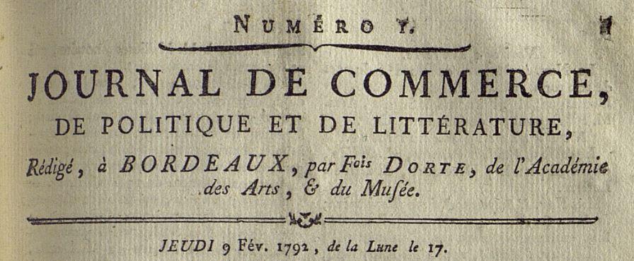 Photo (Bibliothèque municipale (Bordeaux)) de : Journal de commerce, de politique et de littérature. Bordeaux, 1792-1802. ISSN 2130-3363.