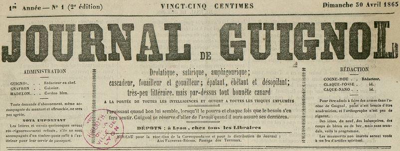 Photo (Bibliothèque municipale (Lyon)) de : Journal de Guignol. Lyon, 1865-1873. ISSN 2130-3762.