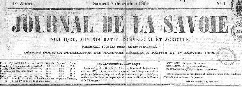 Photo (Auvergne-Rhône-Alpes livre et lecture) de : Journal de la Savoie. Chambéry, 1861-1875. ISSN 2130-4653.