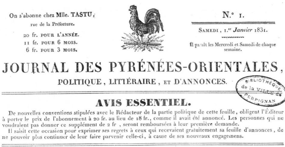 Photo (Occitanie) de : Journal des Pyrénées-Orientales. Perpignan, 1831-1876. ISSN 2130-7873.
