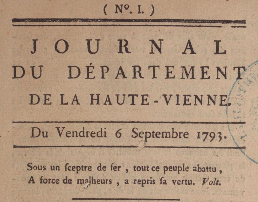 Photo (BnF / Gallica) de : Journal du département de la Haute-Vienne. Limoges, 1793-[1794 ?]. ISSN 2130-8616.