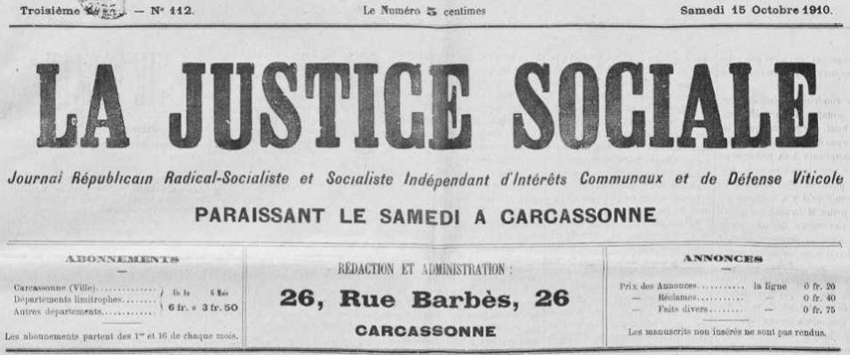 Photo (Occitanie) de : La Justice sociale. Carcassonne, 1908-1914. ISSN 2131-0696.