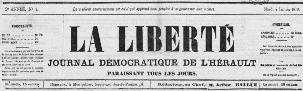 Photo (Occitanie) de : La Liberté. Montpellier, 1869-1871. ISSN 2131-2966.