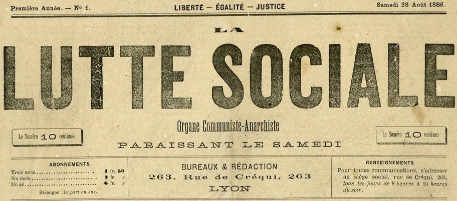Photo (Bibliothèque municipale (Lyon)) de : La Lutte sociale. Lyon, 1886-1893. ISSN 2131-6481.