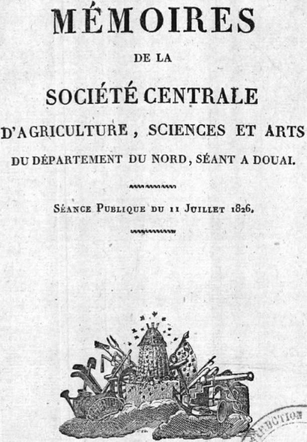 Photo (BnF / Gallica) de : Mémoires de la Société centrale d'agriculture, sciences et arts du département du Nord. Douai, 1826-1955. ISSN 1157-0784.