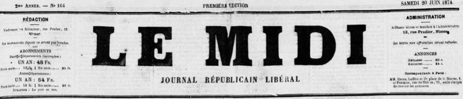 Photo (Occitanie) de : Le Midi. Nîmes, 1873-1887. ISSN 2132-2023.