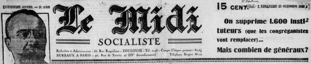 Photo (BnF / Gallica) de : Le Midi socialiste. Toulouse, 1908-1944. ISSN 2020-793X.