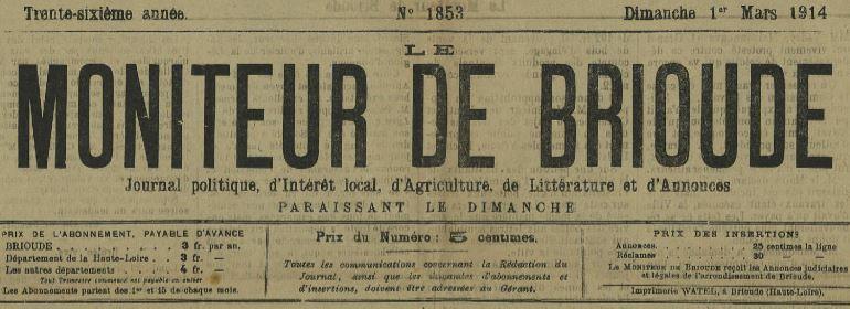 Photo (Haute-Loire. Archives départementales) de : Le Moniteur de Brioude. Brioude, 1878-1915. ISSN 2024-6234.