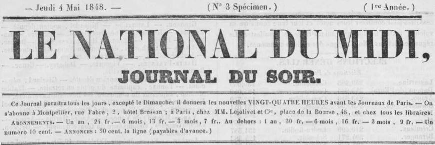 Photo (Occitanie) de : Le National du Midi. Montpellier, [1848 ?]. ISSN 2132-7688.