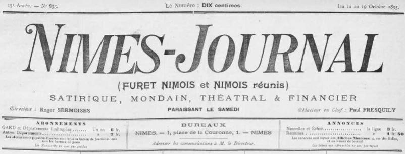 Photo (Occitanie) de : Nîmes-journal. Nîmes, 1895-[1932 ?]. ISSN 2132-8560.