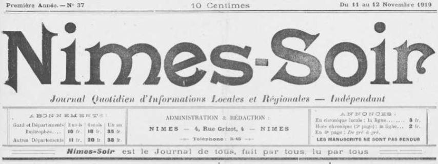 Photo (Occitanie) de : Nîmes-soir. Nîmes, 1919-1921. ISSN 2132-8609.