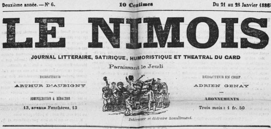 Photo (Occitanie) de : Le Nîmois. Nîmes, 1885-1895. ISSN 2132-8641.