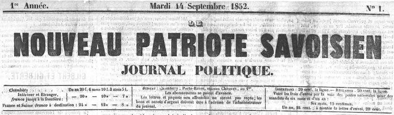 Photo (Auvergne-Rhône-Alpes livre et lecture) de : Le Nouveau patriote savoisien. Chambéry, 1852-1854. ISSN 2133-0158.