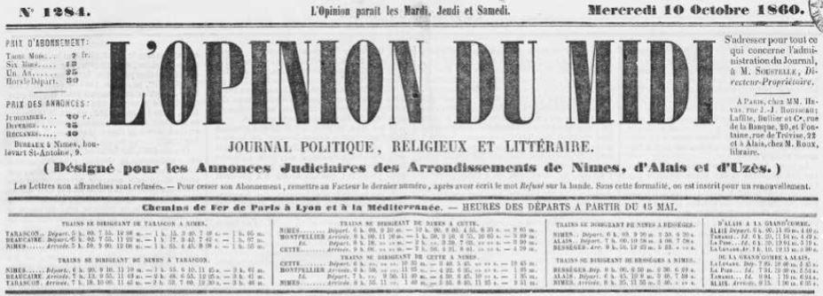 Photo (Occitanie) de : L'Opinion du Midi. Nîmes, [1853 ?]-1871. ISSN 2133-3203.