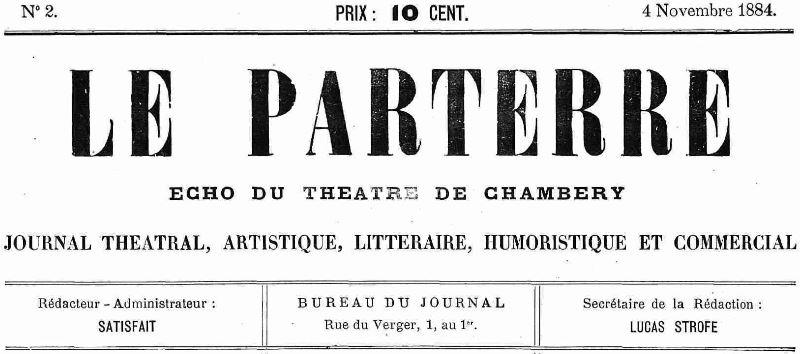 Photo (Auvergne-Rhône-Alpes livre et lecture) de : Le Parterre. Chambéry, 1884-1885. ISSN 2494-064X.