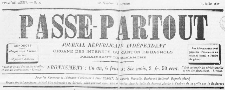 Photo (Occitanie) de : Passe-partout. Bagnols-sur-Cèze, 1887-1889. ISSN 2133-6229.