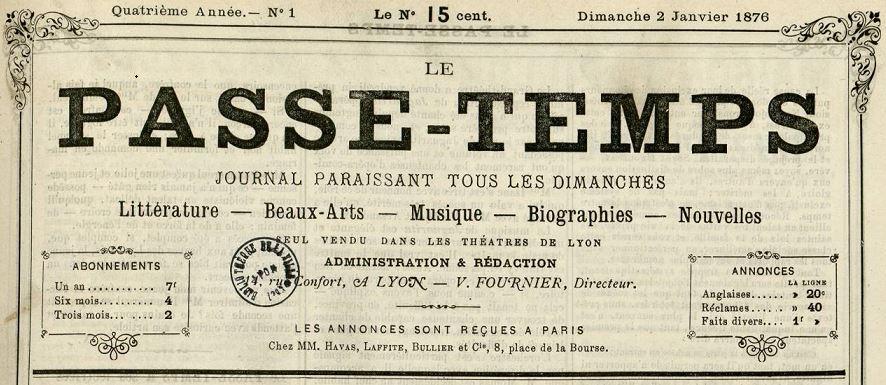 Photo (Bibliothèque municipale (Lyon)) de : Le Passe-temps. Lyon, 1875-1914. ISSN 2133-6245.