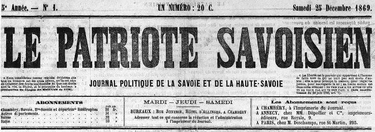Photo (Auvergne-Rhône-Alpes livre et lecture) de : Le Patriote savoisien. Chambéry, 1869-1895. ISSN 2133-7640.