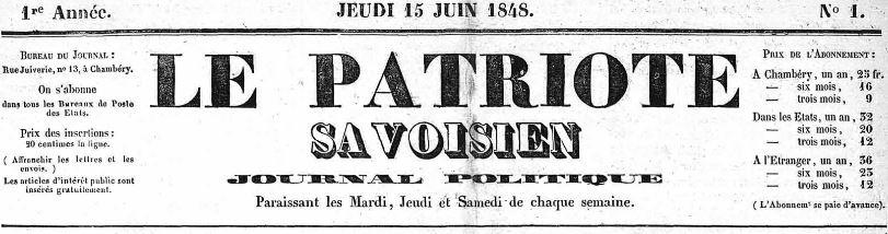 Photo (Auvergne-Rhône-Alpes livre et lecture) de : Le Patriote savoisien. Chambéry, 1848-1852. ISSN 2133-7659.