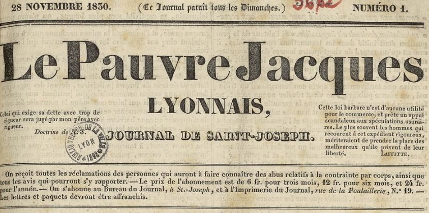 Photo (Bibliothèque municipale (Lyon)) de : Le Pauvre Jacques lyonnais. Lyon: au bureau du journal, 1830-1831. ISSN 2133-7772.