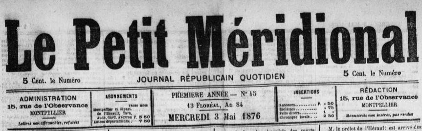 Photo (Occitanie) de : Le Petit Méridional. Montpellier, 1876-1944. ISSN 1160-655X.