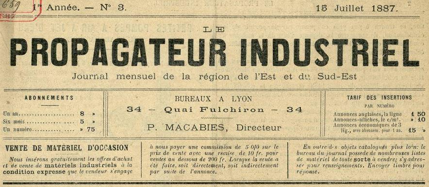 Photo (Bibliothèque municipale (Lyon)) de : Le Propagateur industriel. Lyon, 1887-[1892 ?]. ISSN 2135-5975.