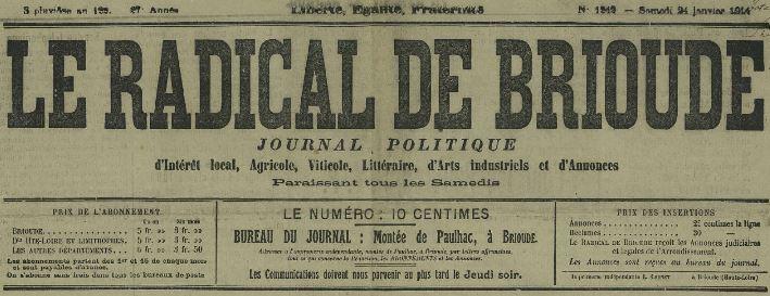 Photo (Haute-Loire. Archives départementales) de : Le Radical de Brioude. Brioude, 1887-1914. ISSN 2024-620X.