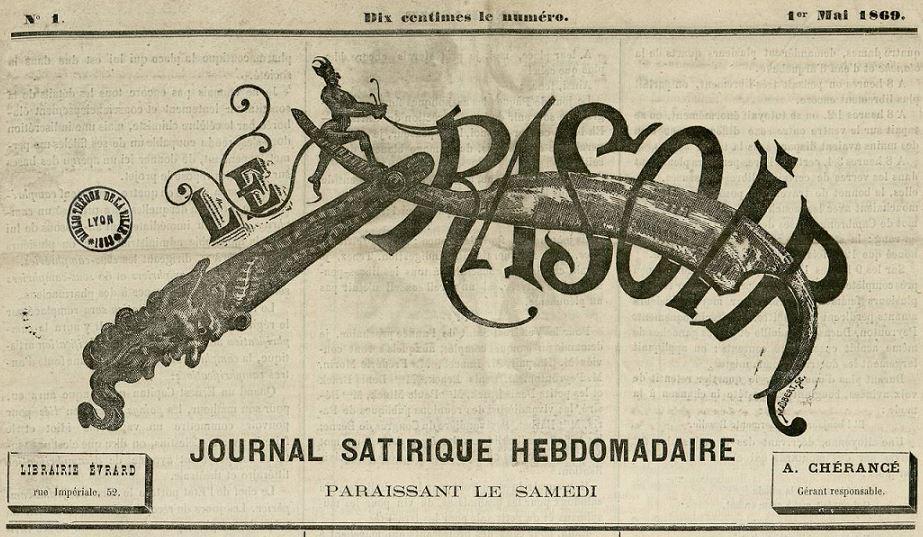 Photo (Bibliothèque municipale (Lyon)) de : Le Rasoir. Lyon, 1869-[1870 ?]. ISSN 2135-9881.
