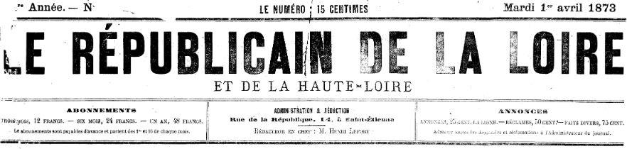 Photo (Auvergne-Rhône-Alpes livre et lecture) de : Le Républicain de la Loire et de la Haute-Loire. Saint-Étienne, 1873-1886. ISSN 1958-4296.