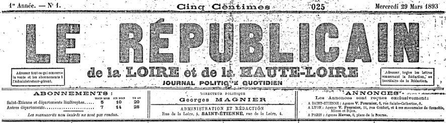 Photo (Auvergne-Rhône-Alpes livre et lecture) de : Le Républicain de la Loire et de la Haute-Loire. Saint-Étienne, 1893. ISSN 1958-430X.