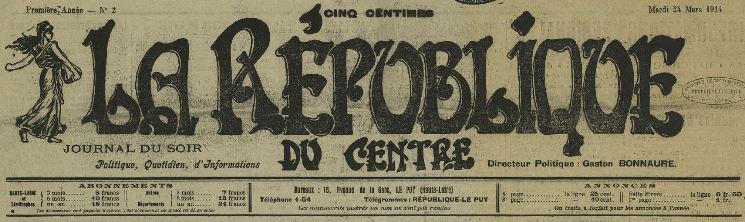 Photo (Haute-Loire. Archives départementales) de : La République du Centre. Le Puy, 1914-1918. ISSN 2024-617X.