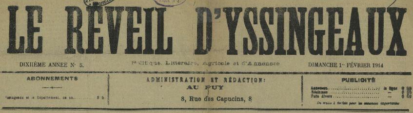 Photo (Haute-Loire. Archives départementales) de : Le Réveil d'Yssingeaux. Le Puy, Yssingeaux, 1905-1914. ISSN 2025-0525.