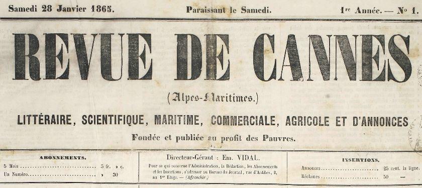 Photo (Cannes (Alpes-Maritimes). Archives municipales) de : Revue de Cannes. Cannes, 1865-[1880 ?]. ISSN 2017-6600.