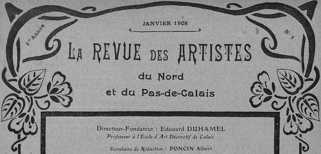 Photo (BnF / Gallica) de : La Revue des artistes du Nord et du Pas-de-Calais. Calais, 1906-1914. ISSN 2137-3604.