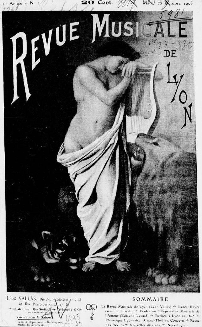 Photo (BnF / Gallica) de : Revue musicale de Lyon. Lyon: Léon Vallas, 1903-1912. ISSN 2018-1035.
