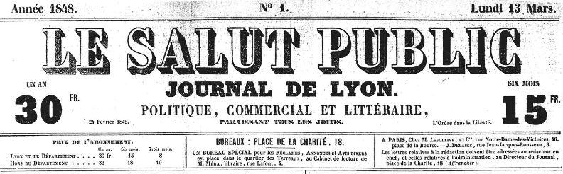 Photo (Auvergne-Rhône-Alpes livre et lecture) de : Le Salut public. Lyon, 1848-1944. ISSN 2019-3653.