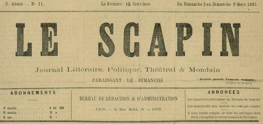 Photo (Bibliothèque municipale (Lyon)) de : Le Scapin. Nîmes, 1883-1884. ISSN 2137-855X.