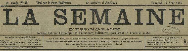 Photo (Haute-Loire. Archives départementales) de : La Semaine d'Yssingeaux. Yssingeaux, [1834?]-1920. ISSN 2025-4059.