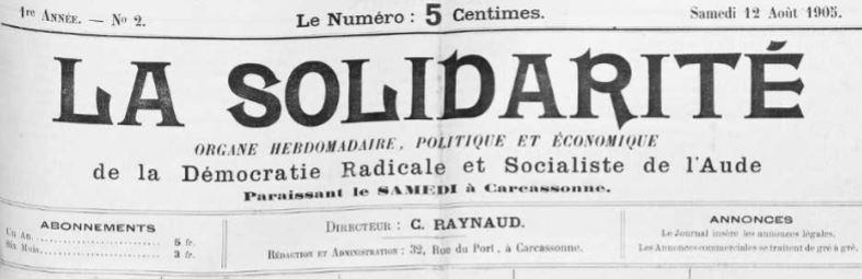 Photo (Occitanie) de : La Solidarité. Carcassonne, 1905-1906. ISSN 2138-2409.